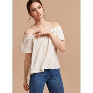 Aritzia Wilfred Sartre Small White Linen Off-The-Shoulder Boho T-Shirt Top Tee